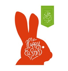 Happy easter typographical and eggs label vector