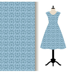 Dress fabric with blue royal pattern vector
