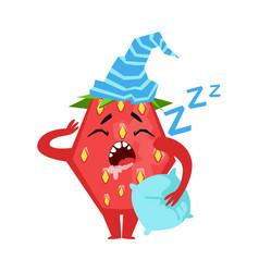 Sleeping funny strawberry cute cartoon emoji vector