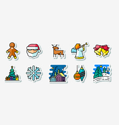 winter christmas holidays icons stickers set vector image
