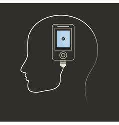 Phone in a brain vector image