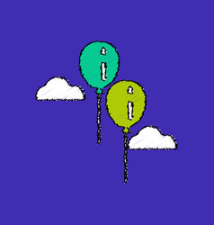 flat shading style icon two balloons in sky vector image