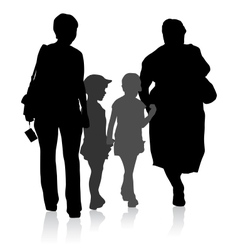 Silhouette of family mother and children and vector
