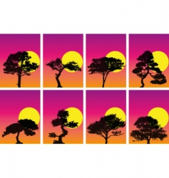 Tree silhouettes in sunset vector