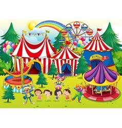 Children having fun at the circus vector