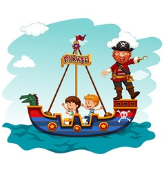 Children riding boat with pirate vector