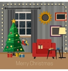Living room with christmas tree vector