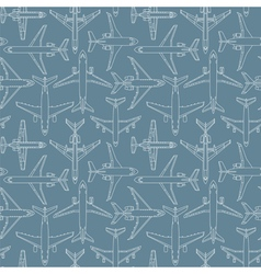 Seamless pattern with passenger airplanes 01 vector