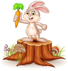 Cute bunny holding carrot on tree stump vector image
