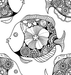Tangle patterns fish background vector