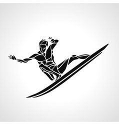 Creative silhouette of surfer vector