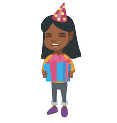 african girl in birthday cap holding gift box vector image vector image