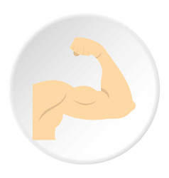 Arm showing biceps muscle icon circle vector