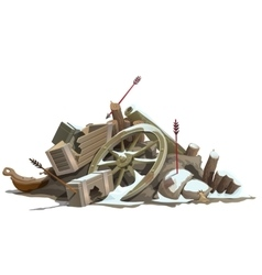 Broken to pieces wooden truck attack of indians vector