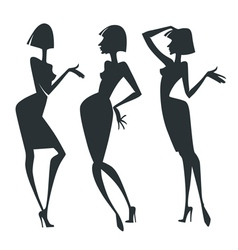 chatting girls collection of fashionable g vector image