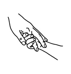close-up hand of a child and mother holding with vector image vector image