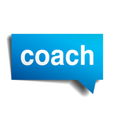 Coach blue 3d realistic paper speech bubble vector