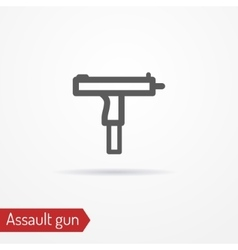 Compact assault weapon line icon vector image vector image