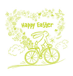 Cute easter rabbit on city bicycle with gift egg vector