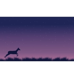 Deer run landscape at night silhouettes vector