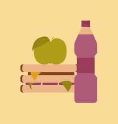 Flat icon on stylish background sandwich apple vector