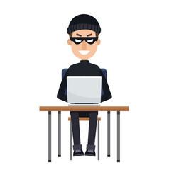Hacker in hoodie sitting with laptop vector
