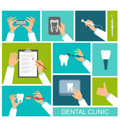 Hands of dentist vector