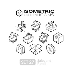 Isometric outline icons set 27 vector image