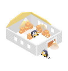 isometric warehouse building with forklift vector image