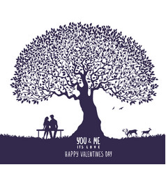 lovers silhouette tree vector image vector image