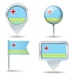 Map pins with flag of Aruba vector image