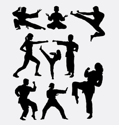 Martial art man woman and kid silhouette vector