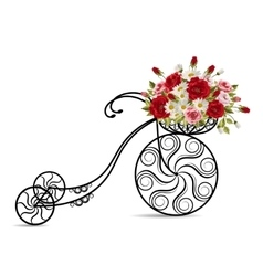 Old bicycle with a basket full of flowers vector