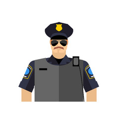 Police officer portrait policeman in uniform vector