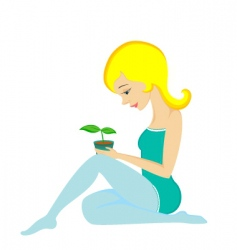 pretty girl and plant vector image vector image