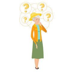 Senior caucasian farmer with question marks vector