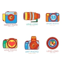 Set of colorful camera logo templates vector image vector image