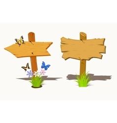 Set of Wooden signboard vector image vector image