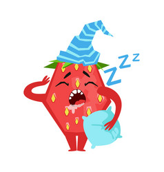 Sleeping funny strawberry cute cartoon emoji vector