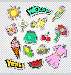 teenager girl fashion stickers badges and patches vector image vector image