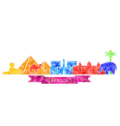 The symbols of architecture and nature of africa vector