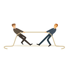 Two young business people playing tug war vector