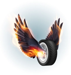 Wheel with fire wings vector