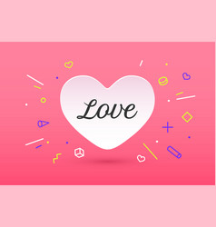 white paper heart with lettering love vector image vector image