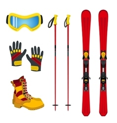 Winter accessories for extreme sports - ski vector