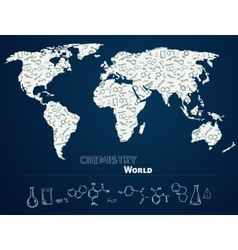 World map with chemistry background vector