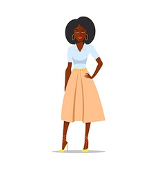Cartoon African american woman with afro vector image