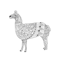 Lama coloring for adults vector