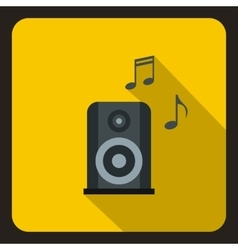 Music speaker and notes icon flat style vector