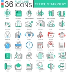Office stationery color flat line outline vector image
